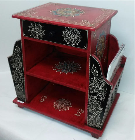 Painted side tables,planter holder,pot holders ,Indian painted furniture,India home decor,Indian Art.Magazine Drawer.