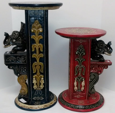 Painted carved side tables,pot holders ,planter stands,elephant head carved.