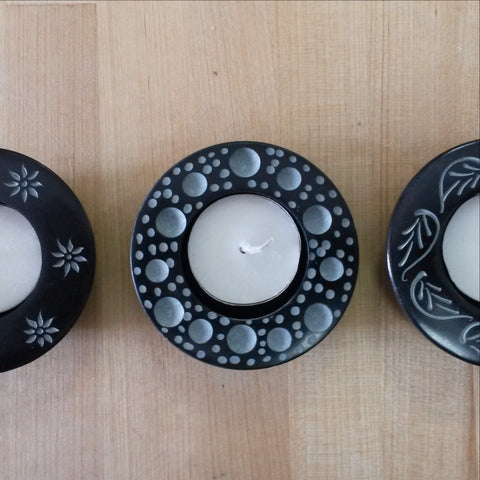 Carved Soapstone Tea Light Candle Holder.