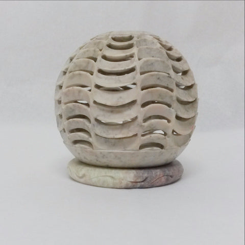 Carved Soapstone Tealight Candle Holder .