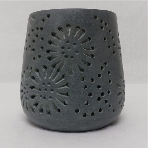 Carved Soapstone Tea Light Candle Holder