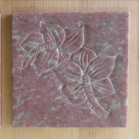 Coaster set,Soapstone Flower Motif.