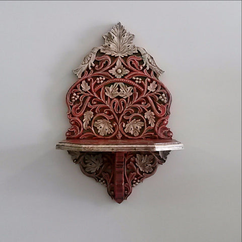 Floating Shelf,Ornate Indian Hand Carved and Painted.Bird.India.