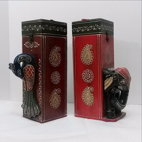 Bar Accessories,Wine box,Hand Painted and Embossed.Elephant/Peacock.