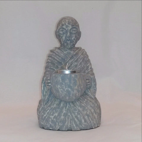 Buddha Tealight Holder.Buddha figurine,Buddha hand carved sculpture
