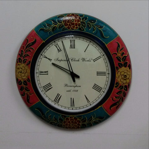 Wall Clock Wood Hand Painted Multi color.