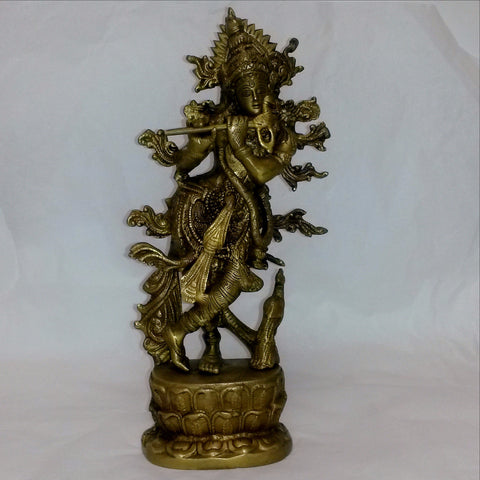 Lord Krishna Brass Statue,Hindu God,Idol.
