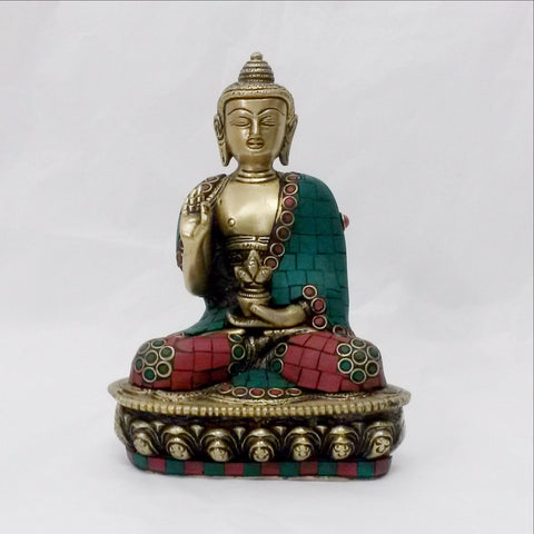 Hand crafted Buddha Blessings Statue with Turquoise & Coral Mosaic Detailing