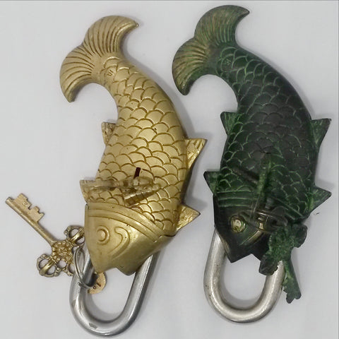 Vintage Brass Tibetan Good Luck Fish Lock With Ornate Keys.