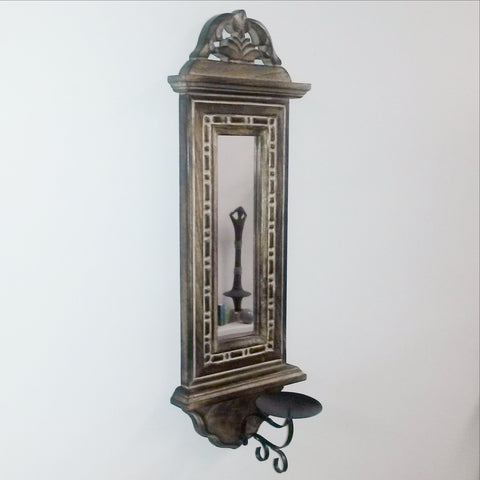 Wood sconce .Wall Mounted candle holder with mirror,India ethnic home decor.