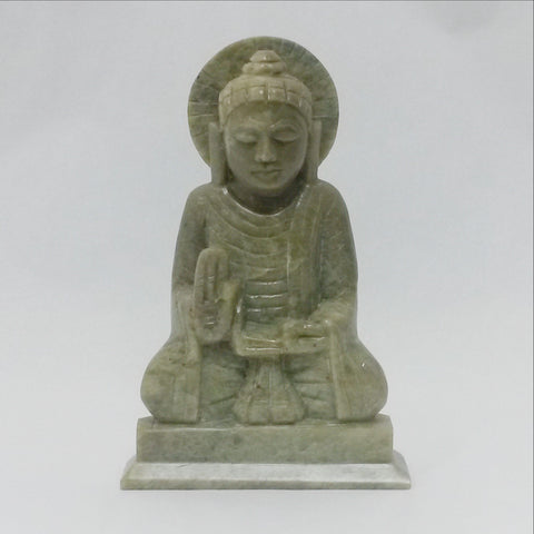 Carved Soapstone Buddha Statue Green.