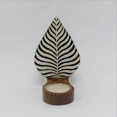 Tealight Candle holder,Wood Printing block carved,Table or Wall mounting,sconce.
