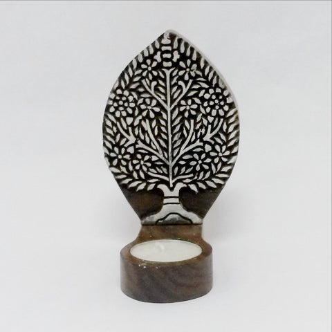Tealight Candle holder,Wood Printing block carved,Table or Wall mounting,sconce.Tree
