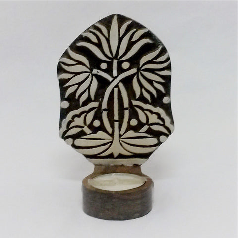 Tealight Candle holder,Wood Printing block carved,Table or Wall mounting,sconce.Lotus