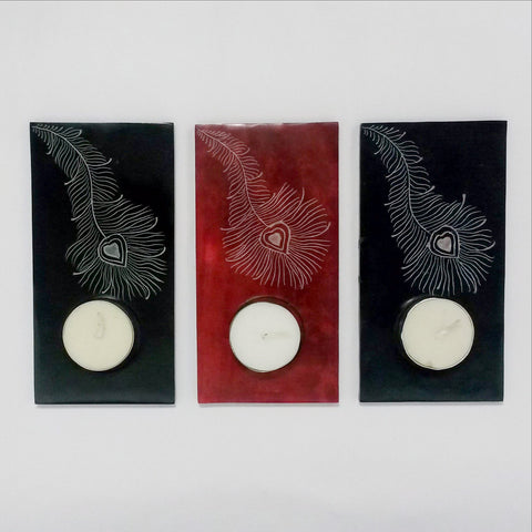 Tealight Candle Holder  Soapstone Peacock Feather Etching. Set of 3.