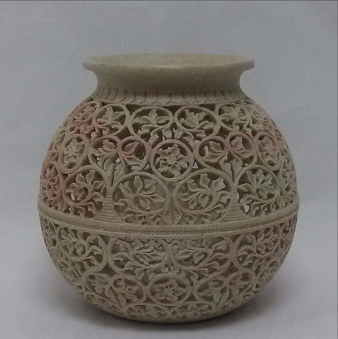 Mughal Art Bowl.Intricate Carving.Soapstone.