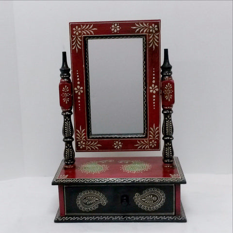 Indian painted Table Mirror With 1 Drawer.Ethnic Art form India.Hand painted.