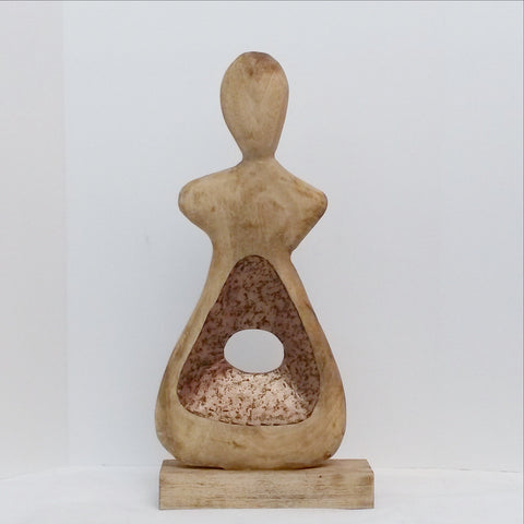Figurine abstract wooden sculpture, scoop peephole sculpture.