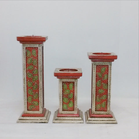 Painted Indian Pillar Candle Holder/Stand Hand Painted Embossed Square .India home decor.