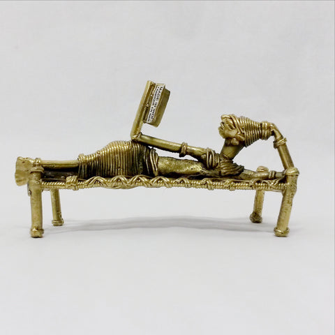 Dhokra Dokra Indian ethnic tribal brass sculpture,India Art.Lady Reading.