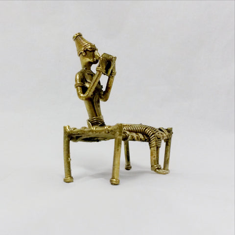 Dhokra Dokra brass Art,Hand crafted,Indian ethnicTribal art, Lady Reading.
