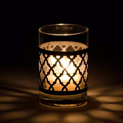 Tealight Candle Holder Glass Leather Laser Cut design.Mini Hurricane