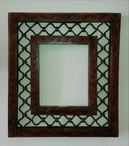 Photo Picture Frame ,Hand painted Metal Grill Border,India, Indian Art.