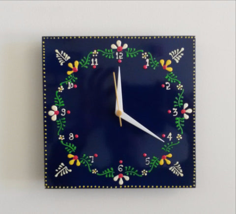 Painted blue Wall Clock Wood Hand Painted ,Indian home decor.