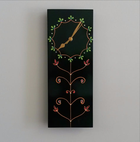 Wall Clock Wood Hand Painted Green.