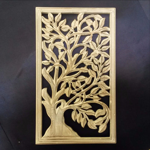 Carved Wood Wall Art Plaque ,Decorative.  ISA