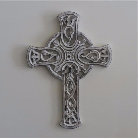 Carved Wood Wall Art Plaque ,Decorative Cross
