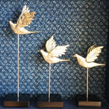 Birds in flight metal sculpture,Wood Base .Set of 3.