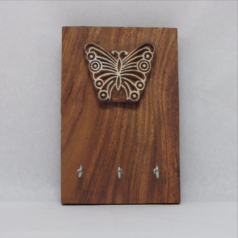 Key Rack,Key Holder Wood. Block Butterfly.