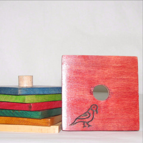 Coaster set Wood,Ethnic Bird motif,India ,Indian art.