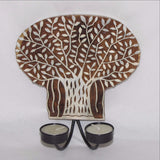 Tealight Candle holder,Wood Printing block carved,Wall mounting,sconce.Banyan Tree