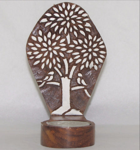 Tealight Candle holder,Wood Printing block carved,Table or Wall mounting,sconce.Parrot.