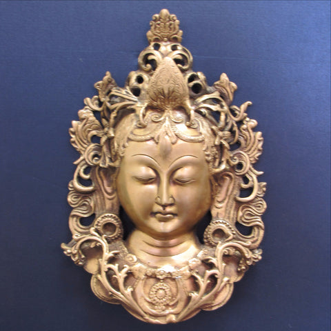 Tara Brass Statuette.Wall mask.