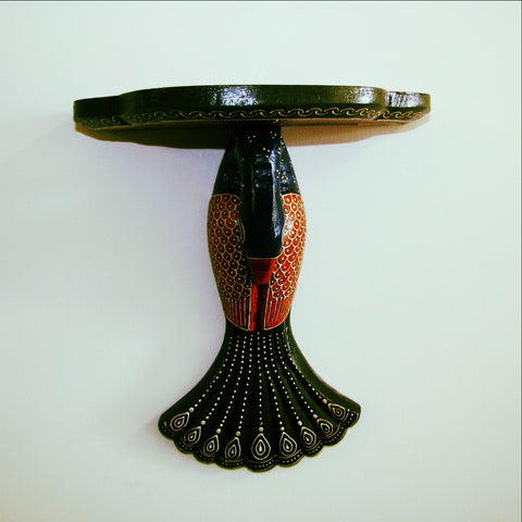 Peacock design Floating Wall Shelf,Hand Painted ,Embossed,India,Indian Art.Wall Decor