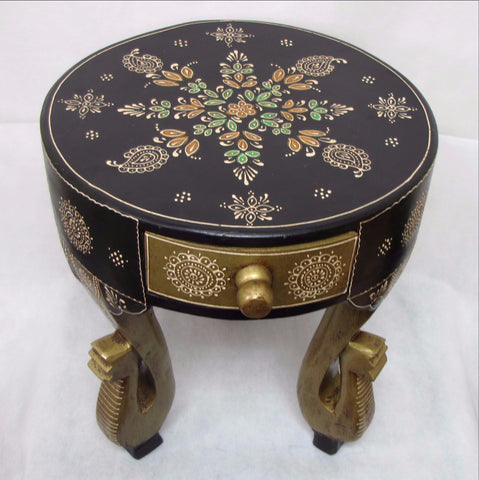 Furniture Hand Made Painted,India,Indian Art,Side Table,Elephant Trunk.