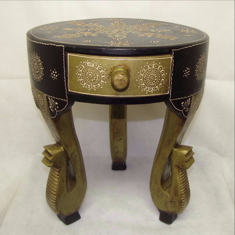 Side table painted carved,elephant motif.Elephant Trunk,planter stand.