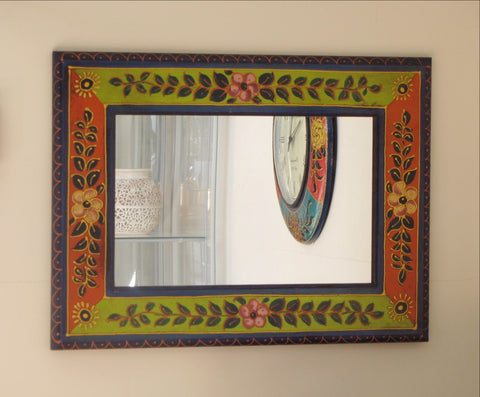 Painted floral mirror,Ethnic.Indian home decor,India art,rajasthan mirror.