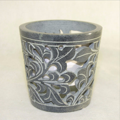 Tealight Candle Holder Soapstone Carved.