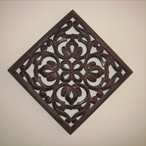 Carved Wood  Wall Art, Plaque 12 inches square.acy.