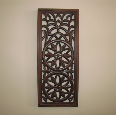Wooden wall carved panel art 24 x 10 inches.wood wall decor,Ida