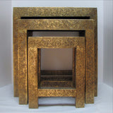 Nesting table set ,brass accents.Set of 3.Indian home decor.