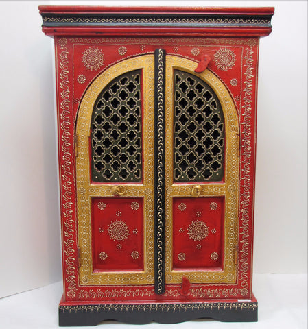 Painted furniture cabinets,small cupboards,Indian home decor,small Almirah.Red