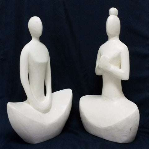 Wood Hand Carved sculpture,Figurine.Yogi Lady Set of 2.