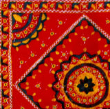 Red floor pouf cover,Cotton,embroidered,India art cushions,24x24 inch square .