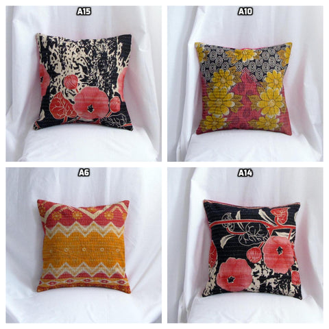 Cotton kantha pillow/cushion India,Indian art, hand stitched 16 x 16 inches.Vintage