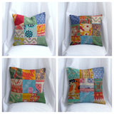 Cotton kantha pillow/cushion India,Indian art, hand stitched 18 x 18 inches..Vintage